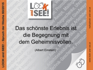 LOOK and SEE! - Spruch der Woche 50